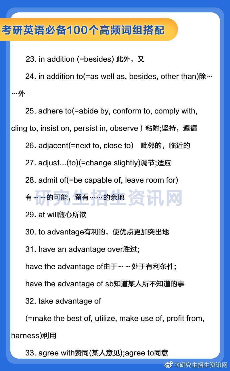 考研英语必背100个高频词组搭配