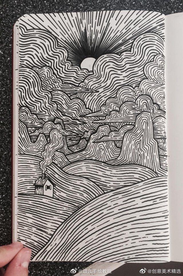 律动的线描创意美术作品。 (图源网络,侵删)