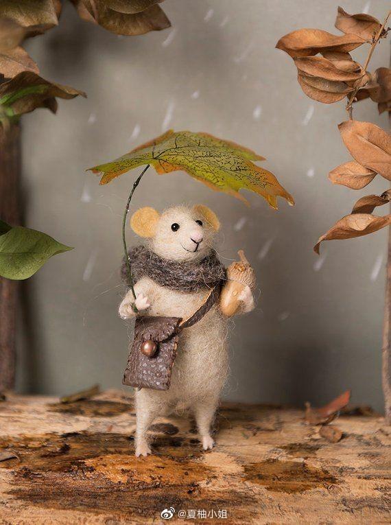 超可爱的小老鼠羊毛毡手作(๑• . •๑)