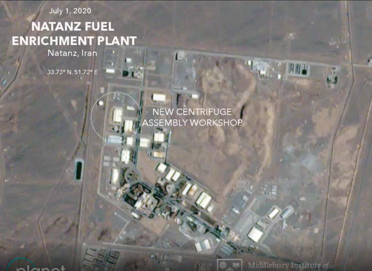 伊朗纳坦兹铀浓缩基地2日发生火灾的离心机装配车间(33.727758° 51