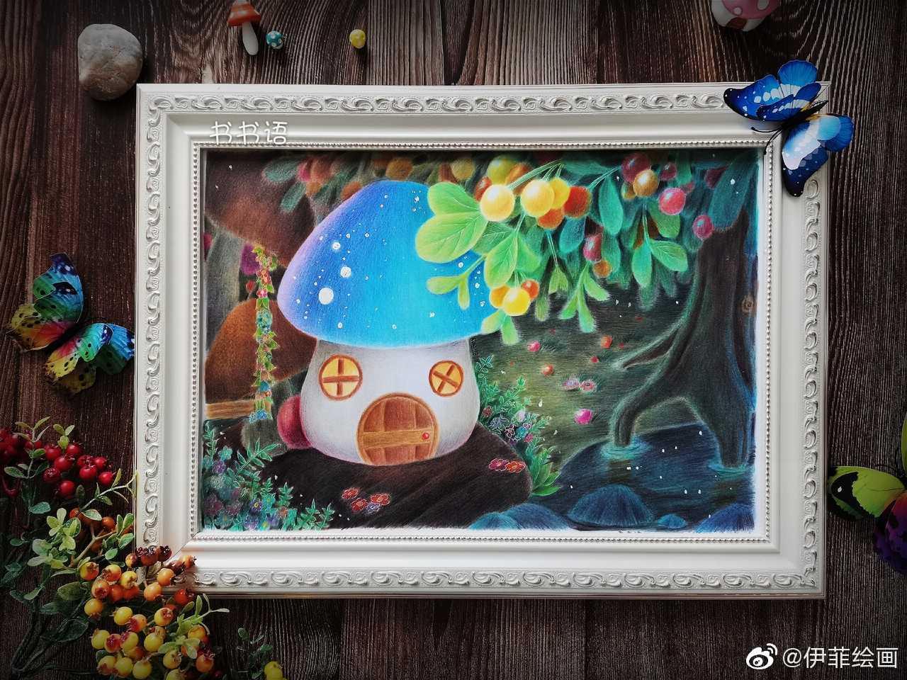 彩铅手绘作品欣赏   书书语原创彩铅绘之《浆果树下的小屋》