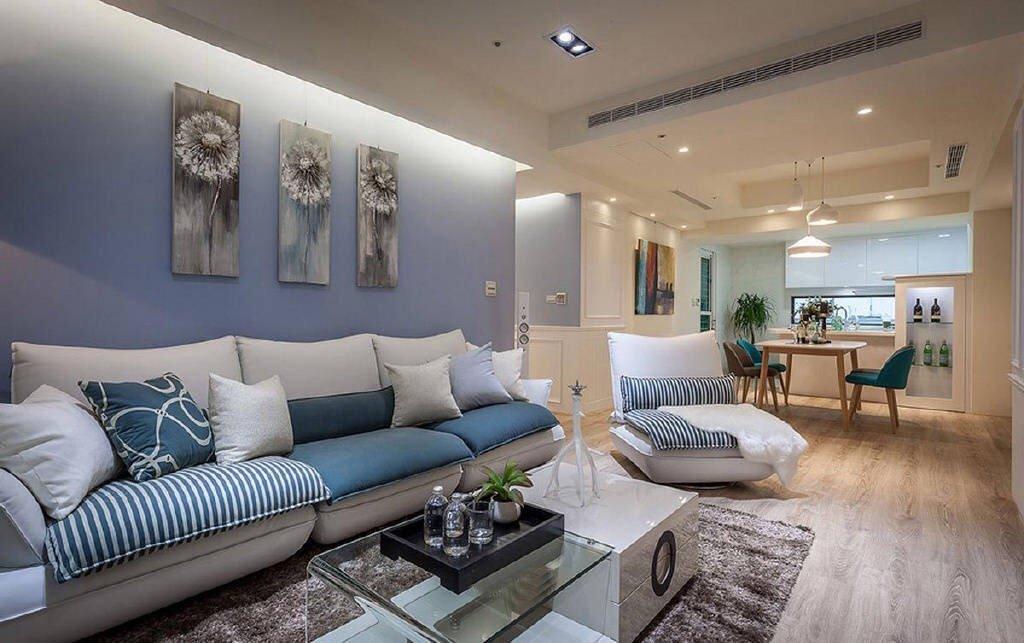 102㎡蓝白·现代简约风格三居室,完整的收纳空间