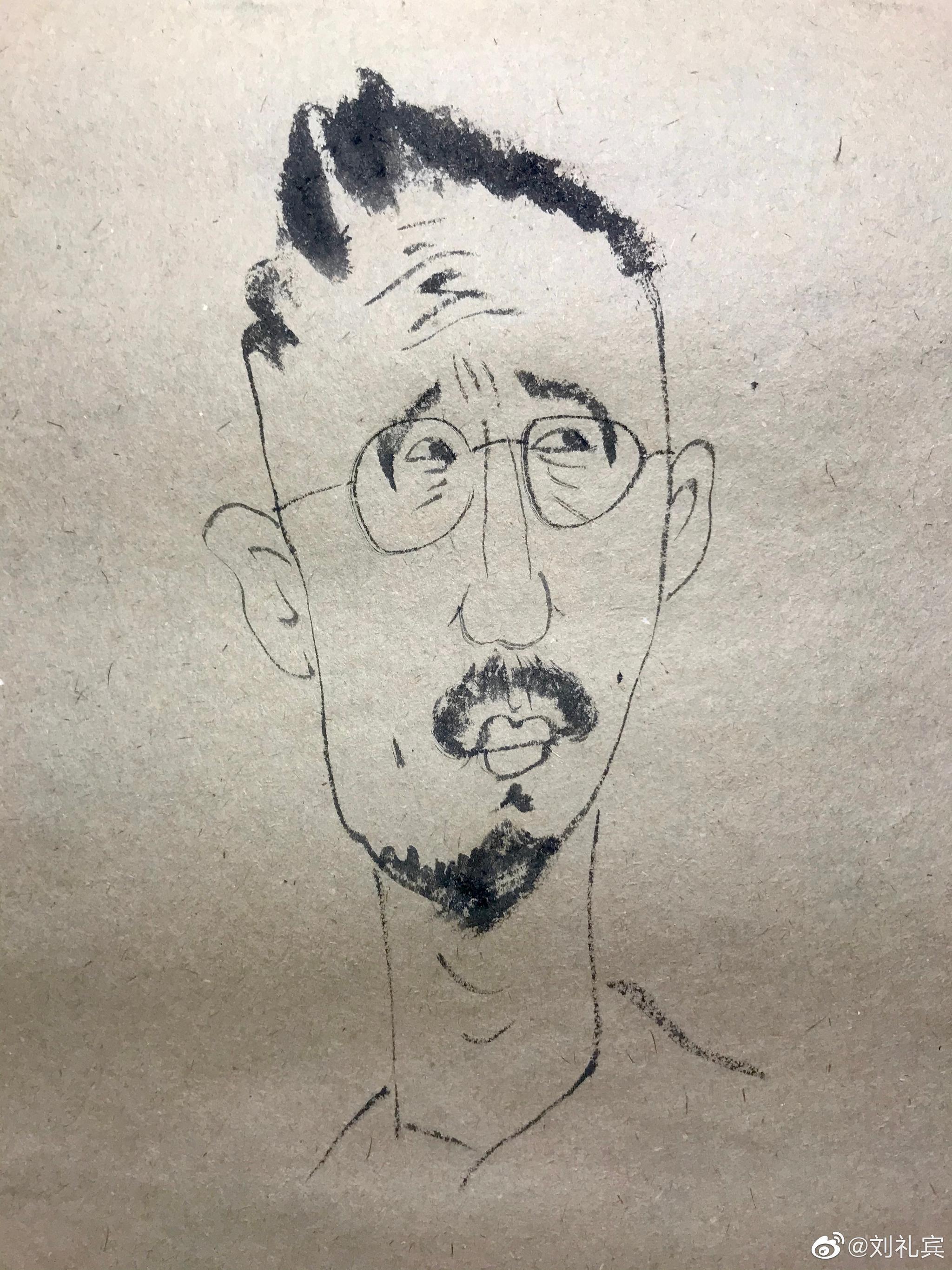 广美美术馆李铁军(昊石 Tim)兄画俺不画则已。一画八个脑袋。受教