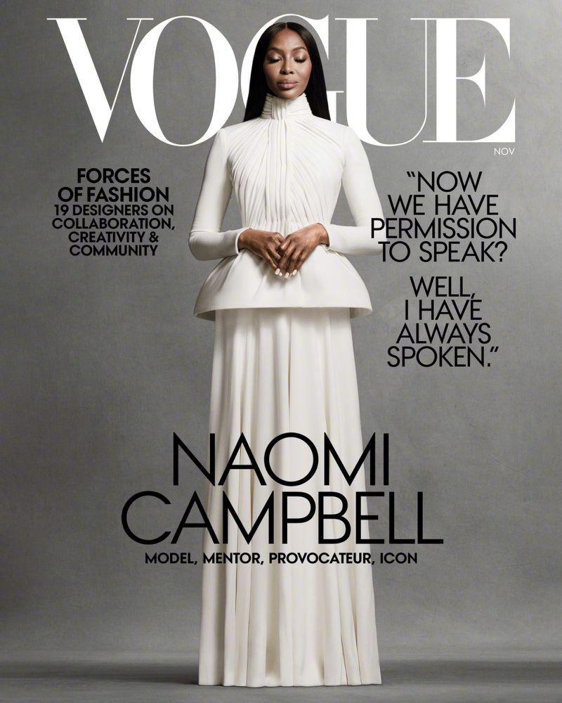 Naomi Campbell身着Dior高定系列登美版Vogue 2020十一月刊封面;内