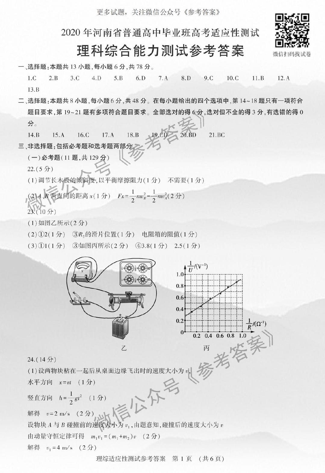 2020年河南省高考适应性测试理综(理科综合),4月29日上午开考