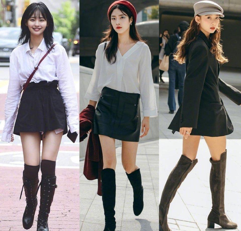 韩国女孩秋冬靴子穿搭指南   时髦有型,姐妹们码起来。