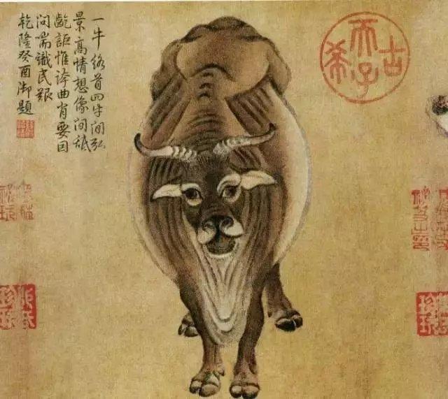 名画欣赏/五牛图/韩滉(723—787),字太冲,长安(今陕西西安)人