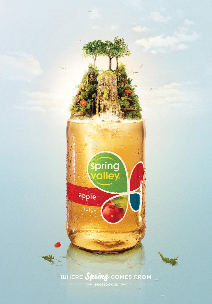 Spring Valley斯普林瓦利果汁饮料的宣传海报-春天在那里