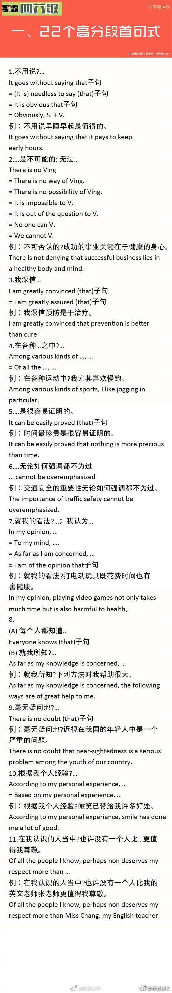英语四六级考试高分作文句。