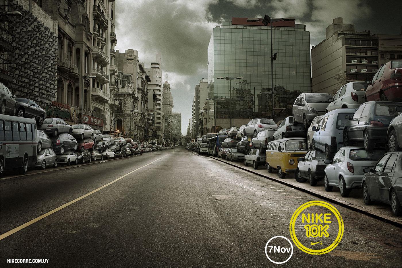 Nike耐克10k跑步项目的宣传广告-跑步当道,诸车回避。
