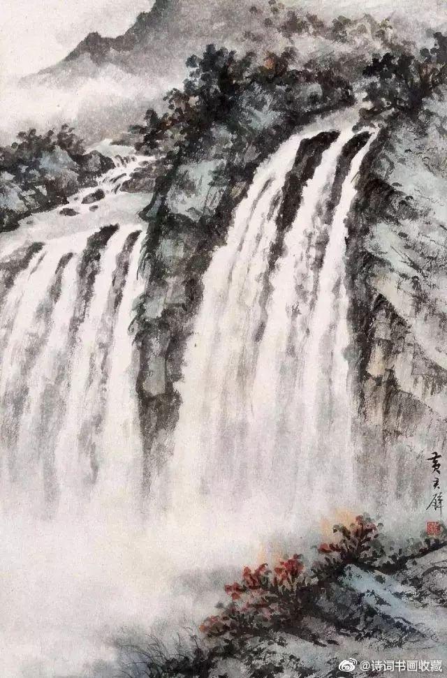 黄君璧、傅抱石和陆俨少的云水瀑布欣赏