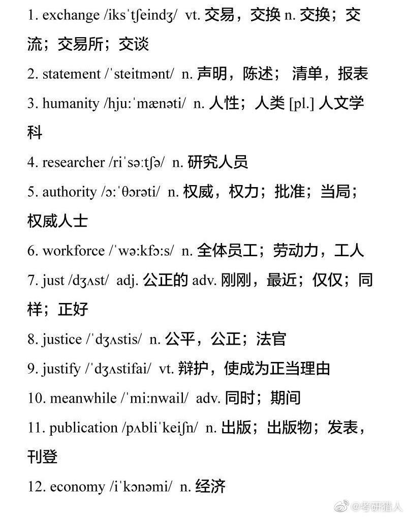 最新整理!近十年考研英语出现频率最高的112个词汇!