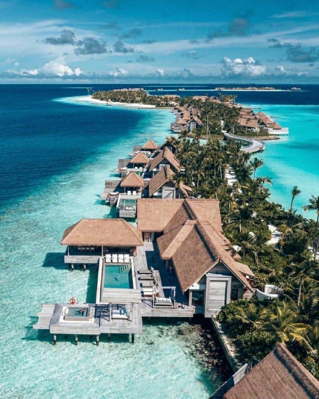 马尔代夫,南马累环礁的鸟巢度假村儿。