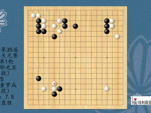 2021年第35届同里杯天元赛本赛第1轮,邬光亚VS童梦成,白中盘胜