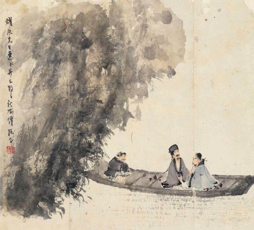 傅抱石笔下的画风极具浪漫色彩,不管是山水还是人物