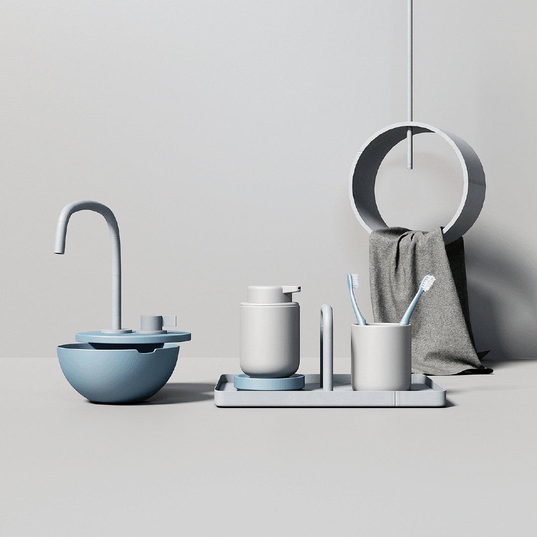 Ume系列:浴室小物配色的重要性  使用软件:Maxon Cinema 4D。