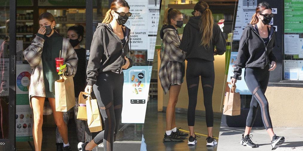 Kendall Jenner 与Hailey Bieber健身后现身街头被拍