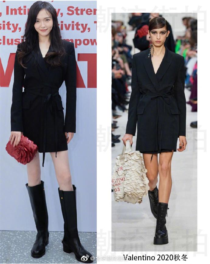 唐嫣 | 今日于成都IFS出席Valentino品牌活动大气西服裙搭配大红色花