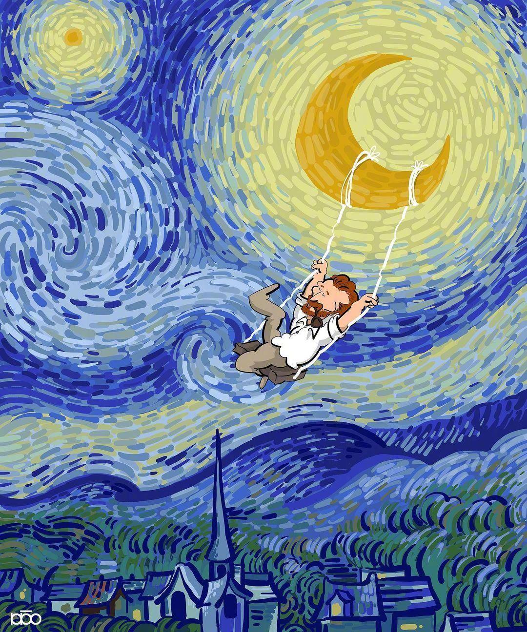 梵高的日子 | 伊朗插画家Alireza Karimi Moghaddam