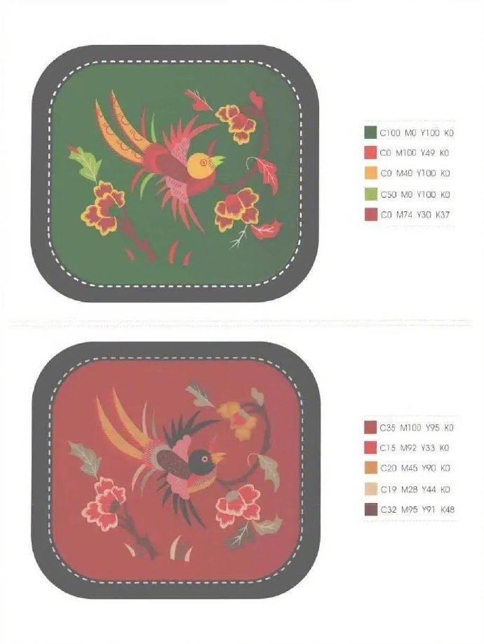 传统刺绣图案的色彩搭配