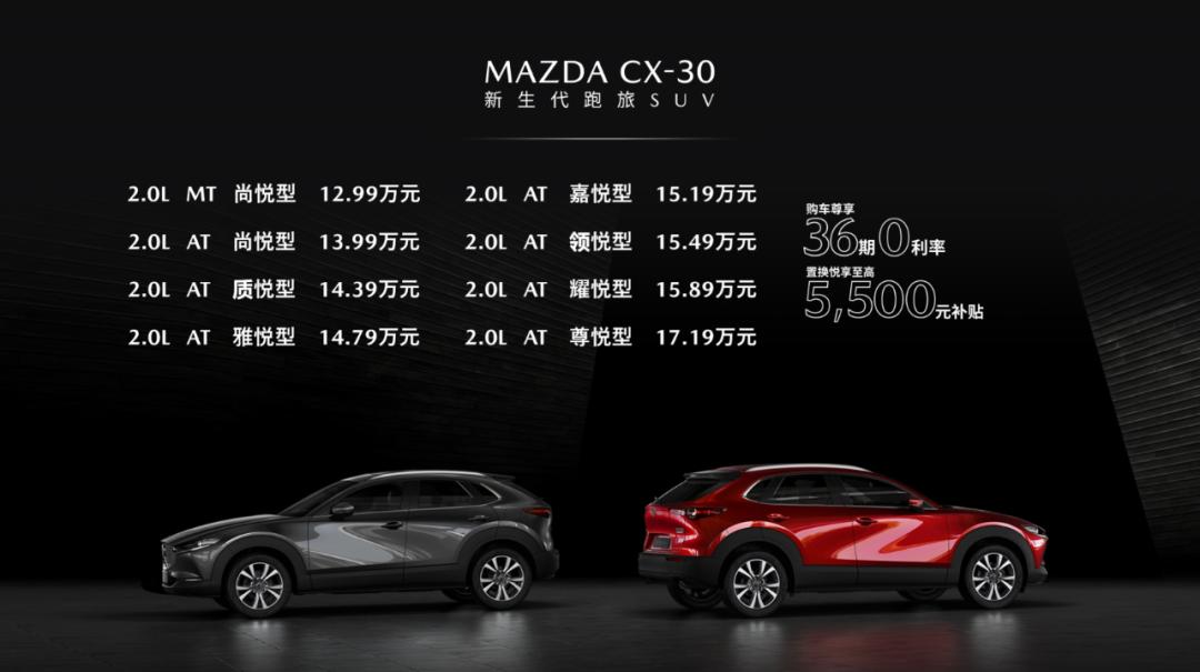 售价12.99 -17.19万元,新生代跑旅SUV MAZDA CX-30火辣出道