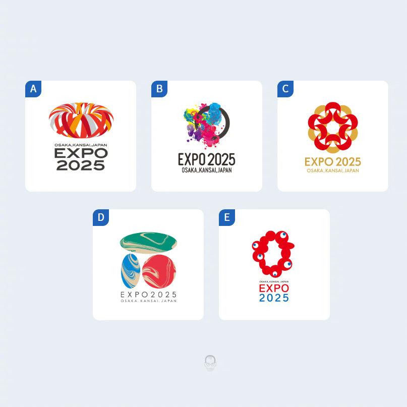 昨天,2025年大阪世博会5个最终候选 LOGO 公开征集意见
