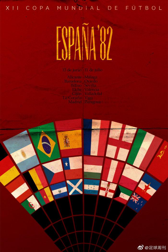 艺术家詹姆斯·泰勒前几年设计的1982年世界杯至2014年世界杯海报