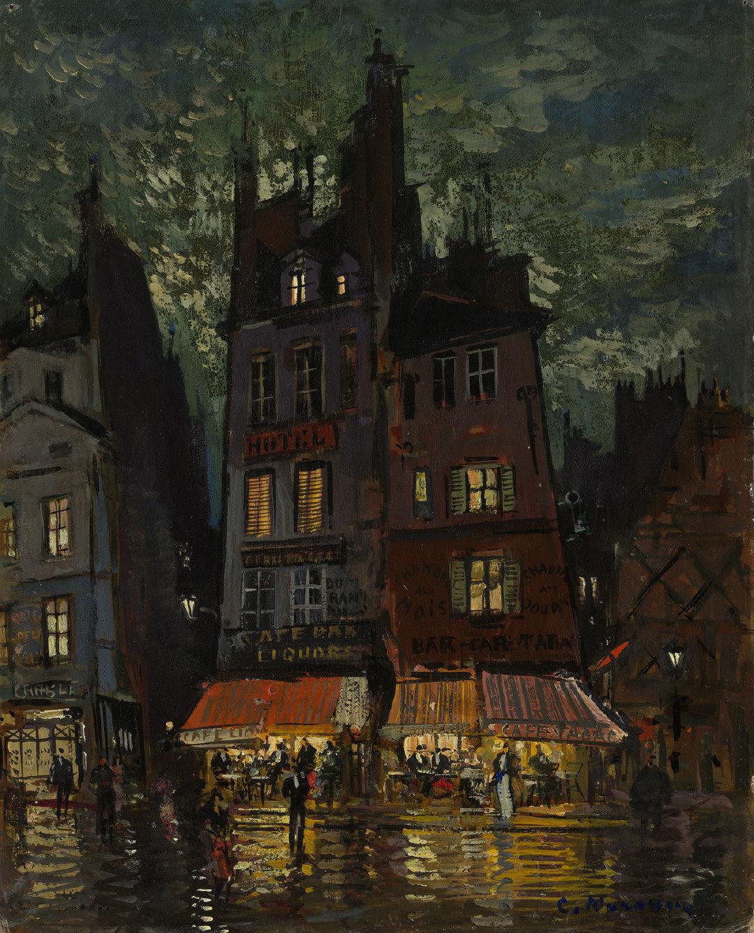 城市的夜俄罗斯印象派画家Konstantin Korovin