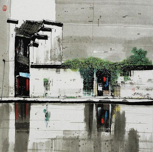 白墙黑瓦,画家汪钰元笔下的彩墨江南。