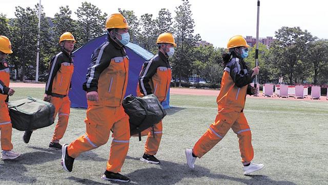 首都人防部门依托北京理工大学良乡校区开展人民防空演练