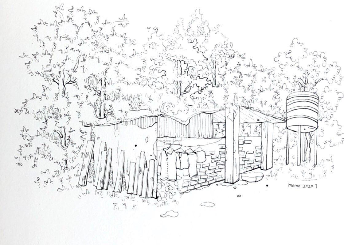 家乡的田园色彩,是夏天赋予的翠绿投稿.画师@momo钢笔淡彩