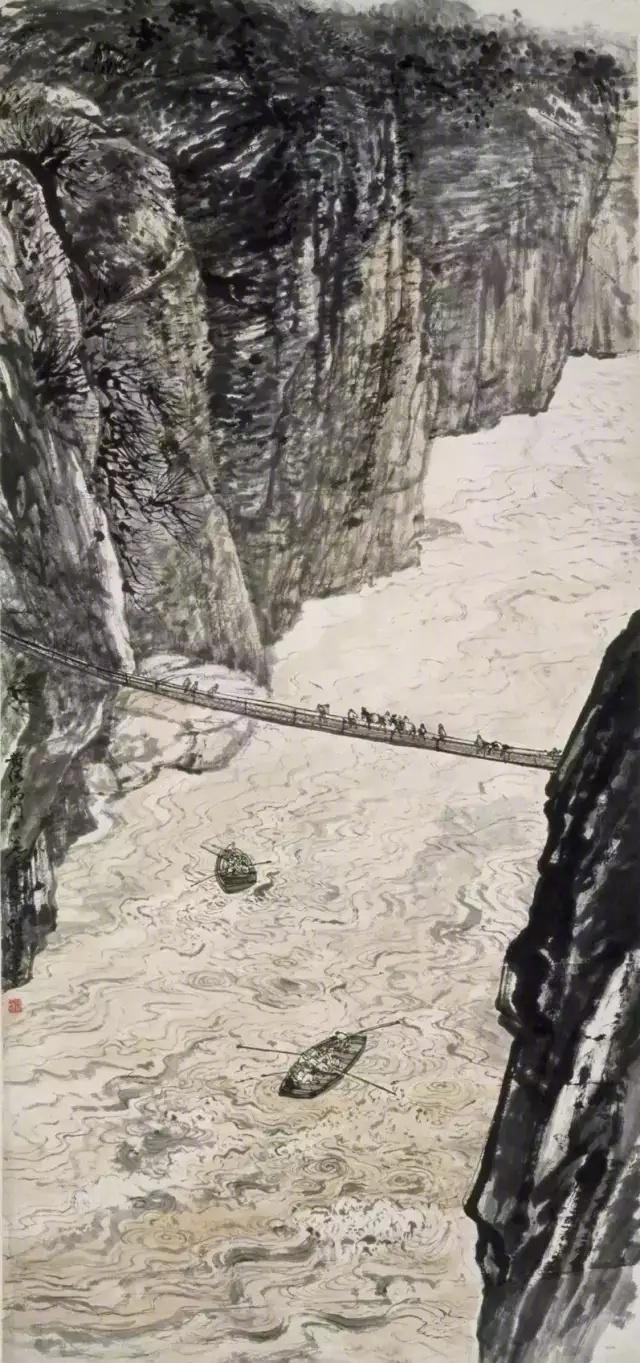 长安画派创始人何海霞/气吞山河  的画作。