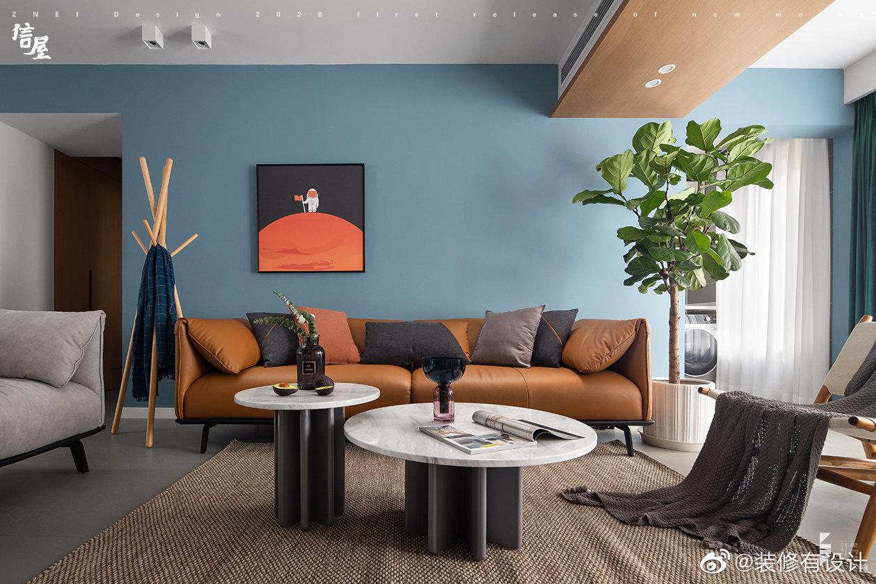 现代简约风之家,清新蓝的安逸与舒适