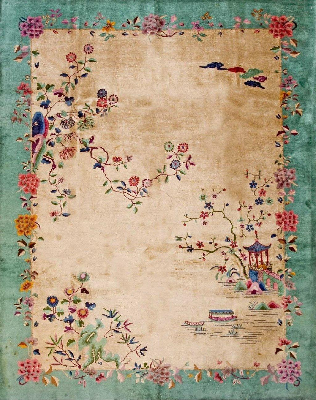 1920年出自国外设计师之手的中国风地毯,清新淡雅,这很中国风。