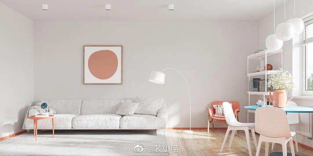 25㎡马卡龙色单身公寓,简洁又清新。