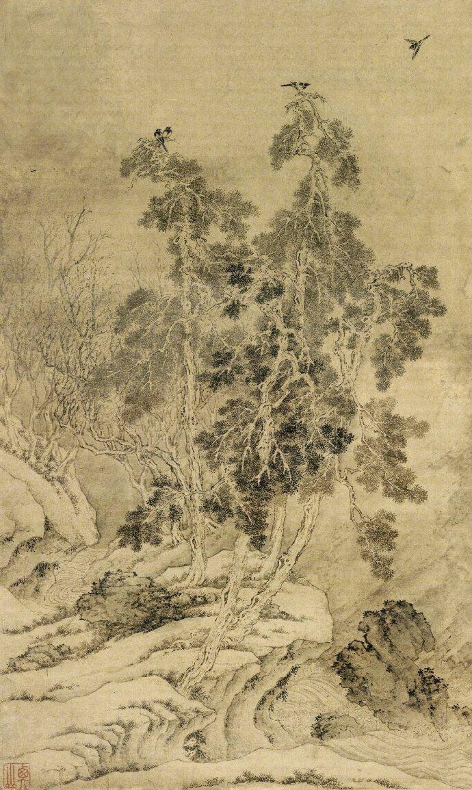 文徵明《山水立轴》纳尔逊博物馆藏,高清大图。