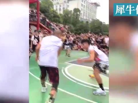 街球手军哥vs曹芳,场边围满观众