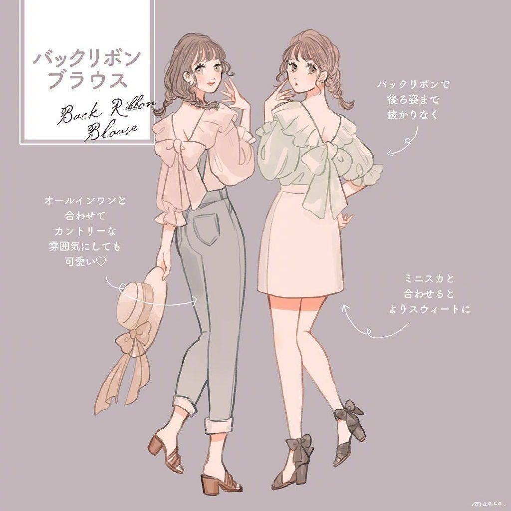 插画师笔下的人物穿搭,夏日和小姐妹的清凉装扮,甜美可爱满分~