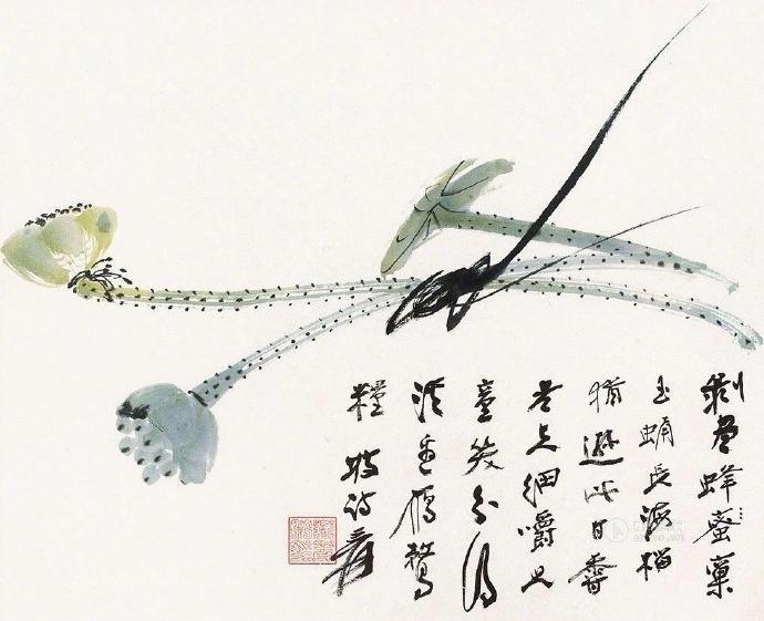 张大千所绘花鸟,题材多样。在行笔节奏和墨色处理上多添新意