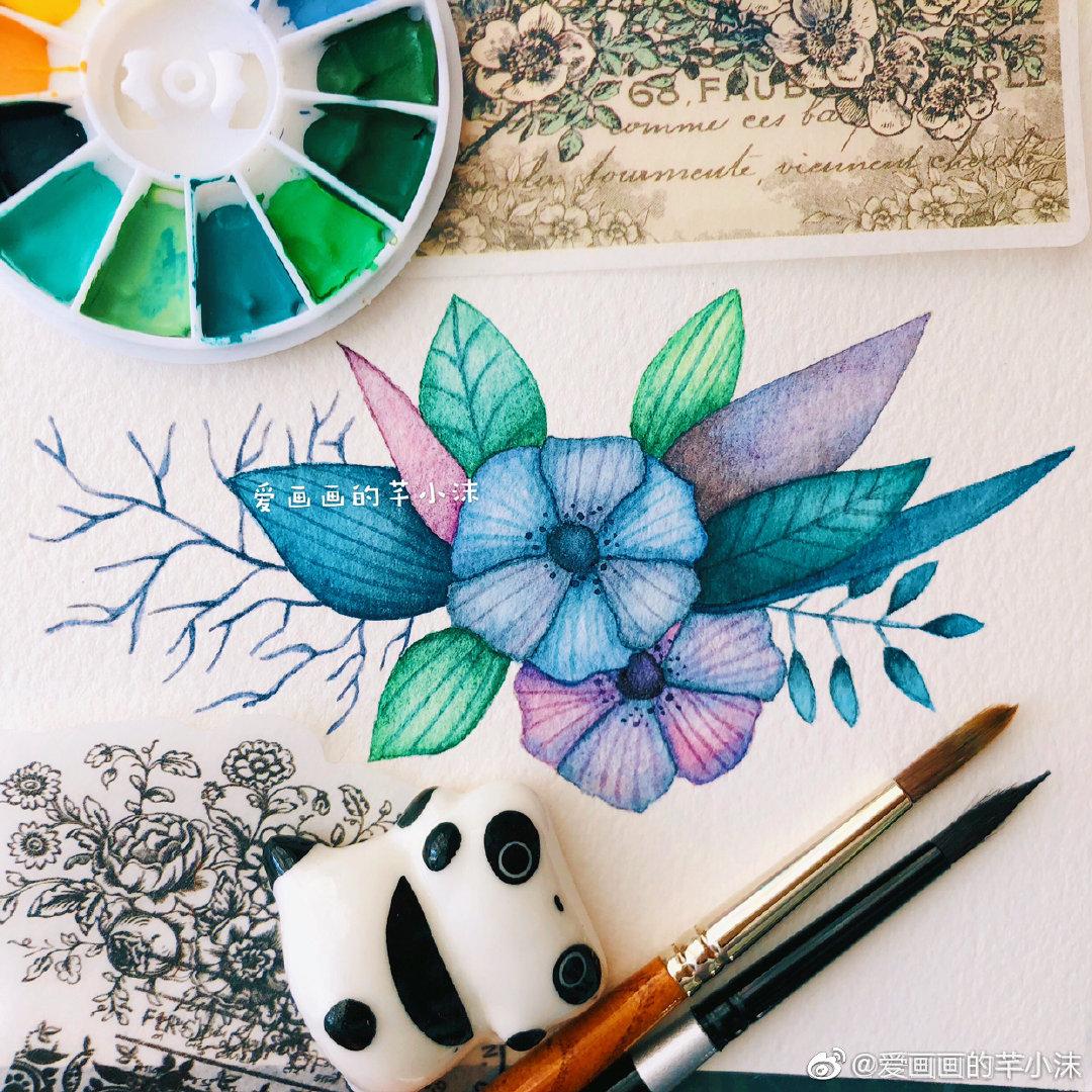 """""""且听风吟,静待花开。""""🌸        作者:@爱画画的芊小沫"""