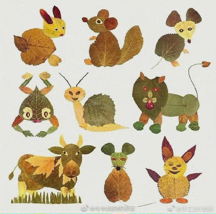 分享一组创意树叶画,趁树叶落光之前,收集今年最后的秋天吧~