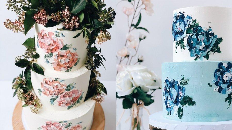印象派蛋糕装饰最近在ins上很火,用奶油霜作为颜料在蛋糕上作画