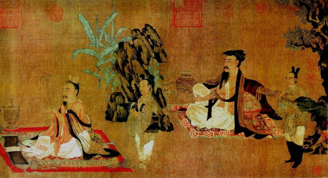 此图为《竹林七贤图》残卷。图中描绘四位高士放浪形骸