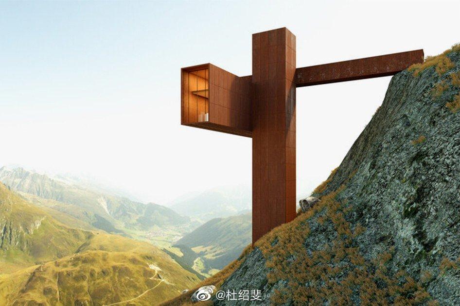一栋建在阿尔卑斯山脉的悬崖住宅,以笛卡儿座标系为设计灵感