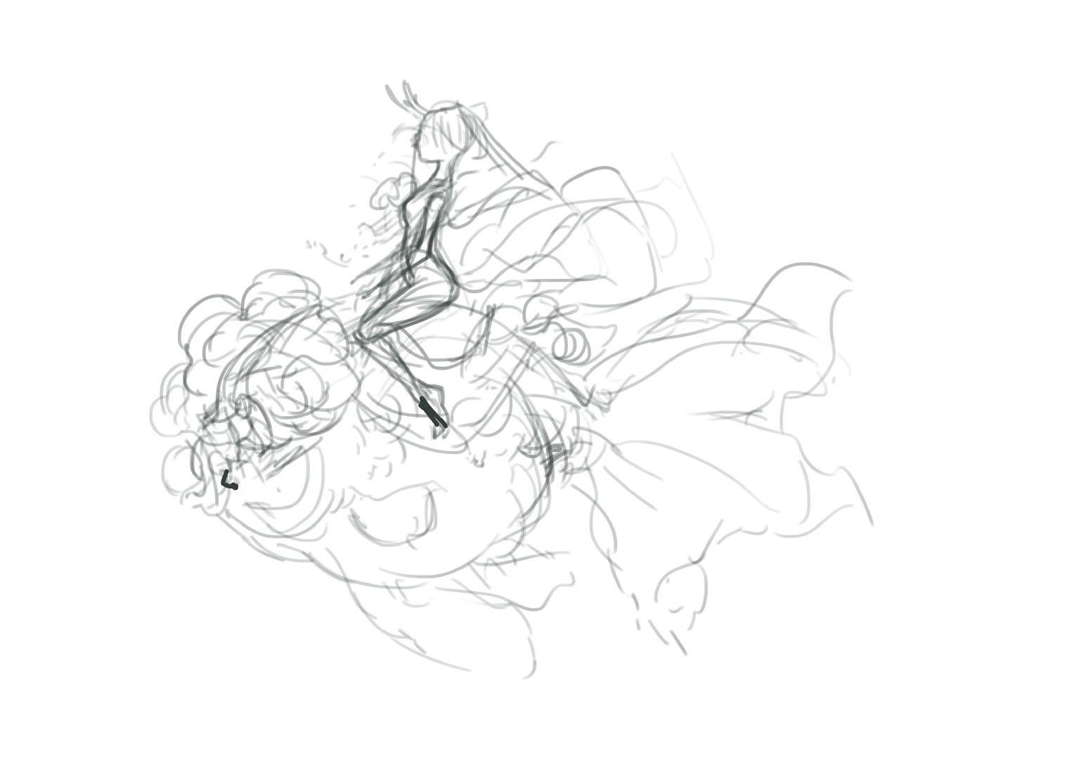金鱼新娘绘画过程-来自 @elangshou  作品