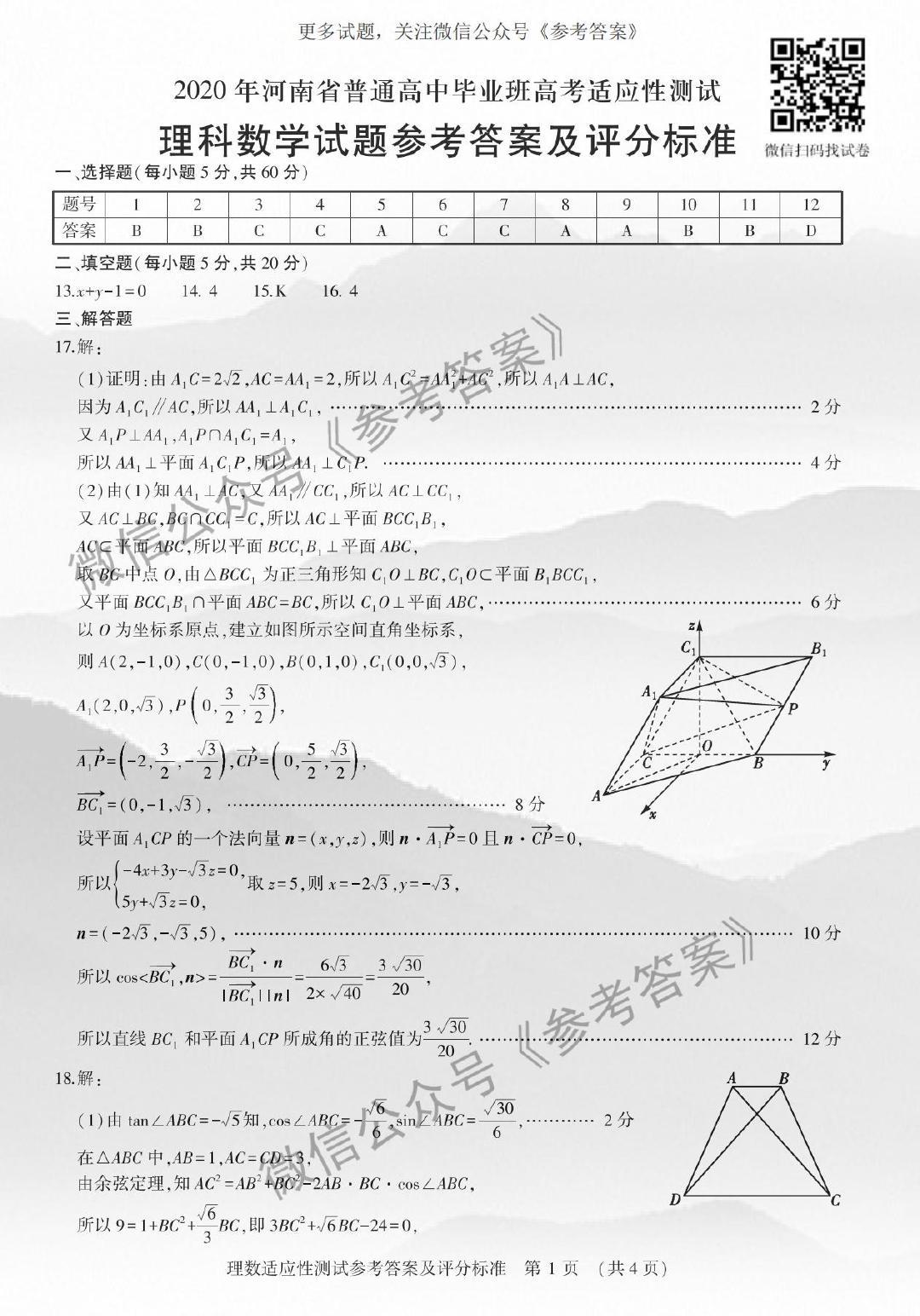 2020年河南省高考适应性测试数学答案(文科数学、理科数学)