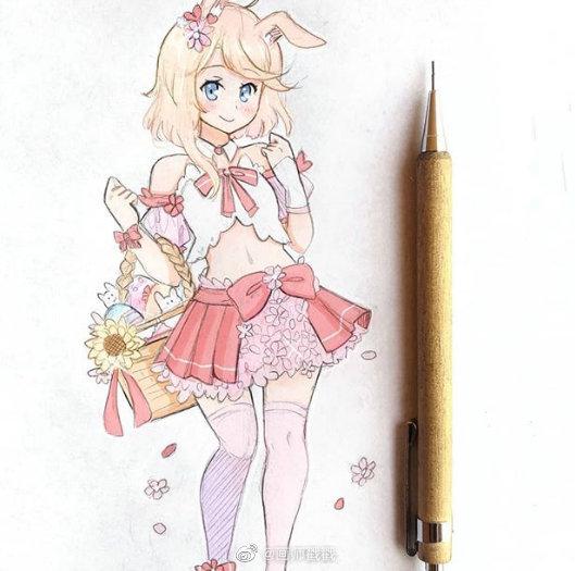 来自插画师meiririh的马克笔萌系少女图