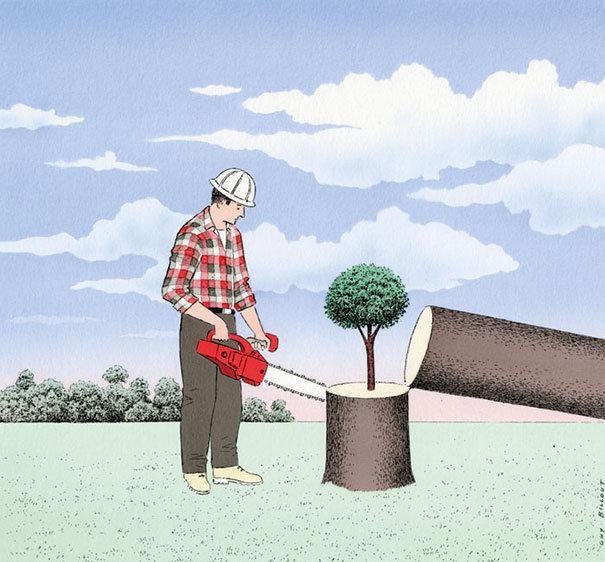 法国插画家 Guy Billout 的讽刺插画作品。