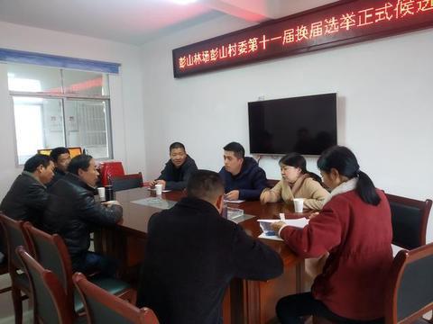 彭山林场党委对彭山村村委换届正式候选人开展集体谈话
