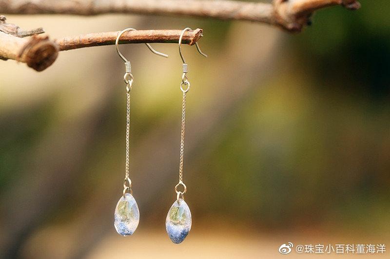 稀少宝石必收品种:天然蓝发晶。这回直接帮大家做好了银耳坠